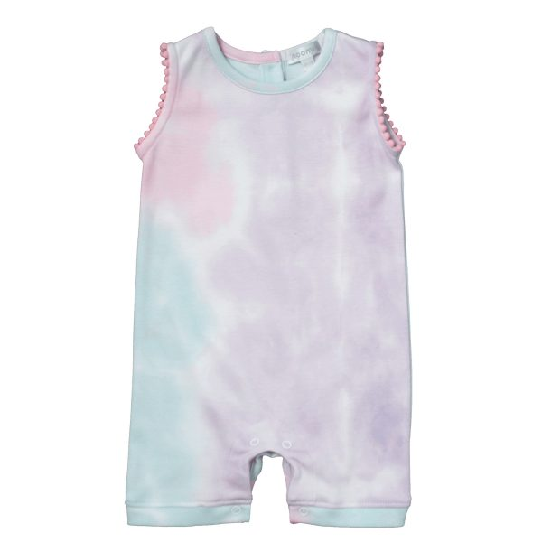 Baby Noomie Romper with Pompoms- Cotton Candy Tie Dye