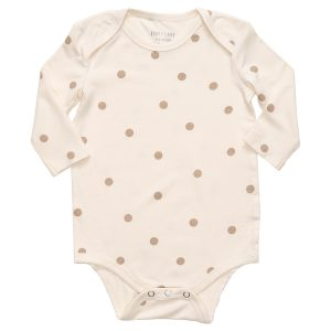 hart + land bamboo polka dot long sleeve lap shoulder bodysuit