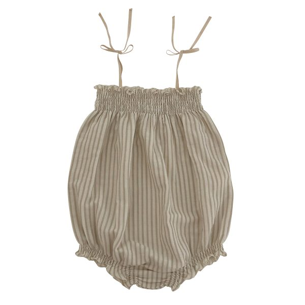 liilu Baby/Toddler Smocked Romper- Sandy Stripes