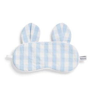 Petite Plume Blue Gingham Bear Eye Mask