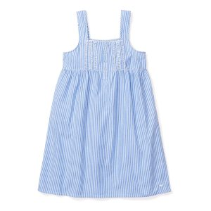 Petite Plume Women's French Blue Seersucker Charlotte Nightgown