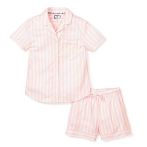 Petite Plume Women's Coral Modern Striped Classic Short Set