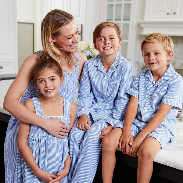 Petite Plume Baby/Toddler/Big Kid Blue Seersucker Pajamas