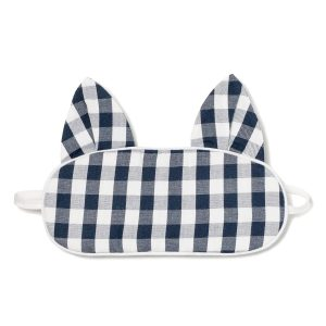 Petite Plume Navy Gingham Kitty Eye Mask