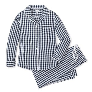 Petite Plume Women's Navy Gingham Pajama Set