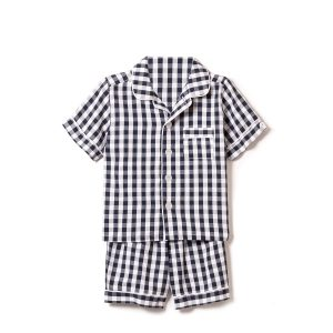 Petite Plume Kids Navy Gingham Short Pajama Set