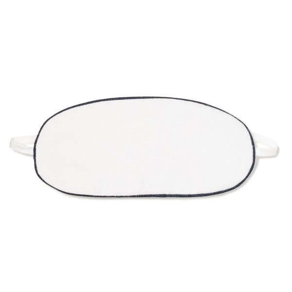 Petite Plume White Eye Mask With Navy Piping