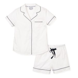 Petite Plume Women's Classic White Pajama Short Set with Navy Piping
