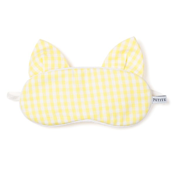Petite Plume Yellow Gingham Bunny Eye Mask