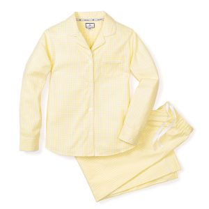 Petite Plume Women's Yellow Gingham Pajamas