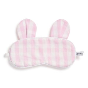 Petite Plume Pink Gingham Bear Eye Mask
