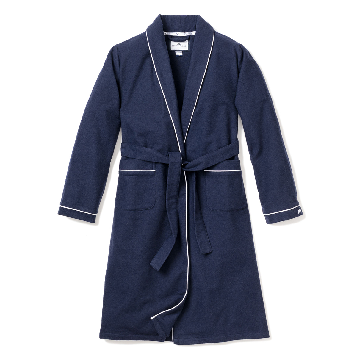 Petite Plume Kids Navy Robe with White Piping