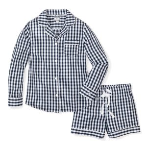 Women's Petite Plume Navy Gingham Long Sleeve and Short Pajama Set