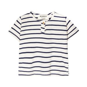 Go Gently Nation Baby/Toddler/Big Kid Jersey Henley Navy Stripe T-Shirt SS20