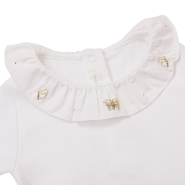 Marie-Chantal Baby Alexandra Ruffle Collar Onsie with Butterfly Embroidery SS20
