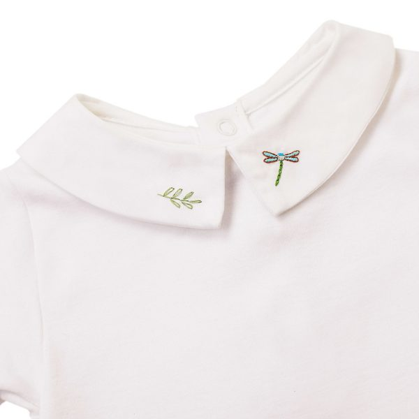 Marie-Chantal Baby Short Sleeve Alex Shirt Collar Onesie Dragonfly Embroidery