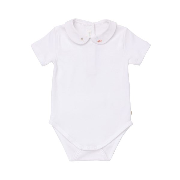 Marie-Chantal Baby Peter Pan Collar Onesie with Fish and Crab Embroidery