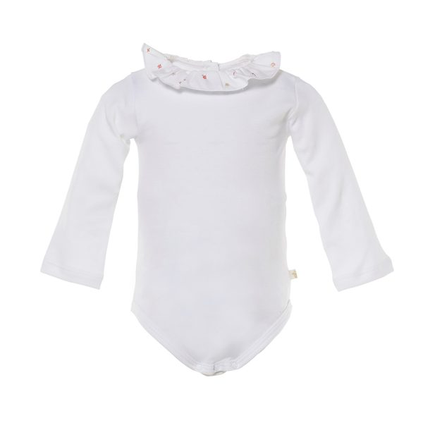 Marie-Chantal Baby Long Sleeve Baila Ruffle Collar Onesie with Flower Embroidery