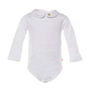 Marie-Chantal Baby Long Sleeve Peter Pan Collar Onesie with Home Sweet Home Embroidery