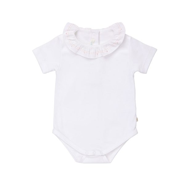 Marie-Chantal Baby Short Sleeve Onesie With Stitch & Dot Embroidery