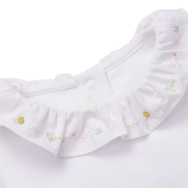 Marie-Chantal Baby Short Sleeve Onesie with Summer Flower Embroidery