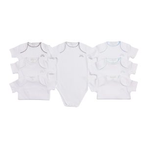Marie-Chantal Baby Set of 7 Pink Picot Trim Onesie - Blue