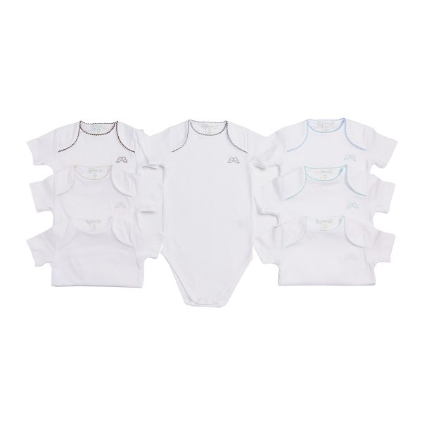 Marie-Chantal Baby Set of 7 Pink Picot Trim Onesie – Blue