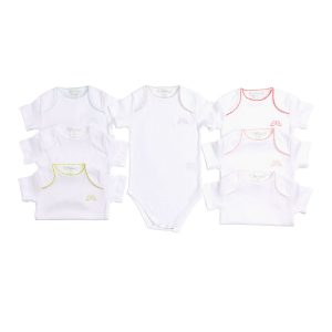 Marie-Chantal Baby Set of 7 Pink Picot Trim Onesie - Pink