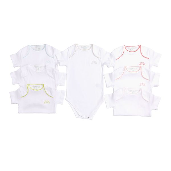 Marie-Chantal Baby Set of 7 Pink Picot Trim Onesie – Pink