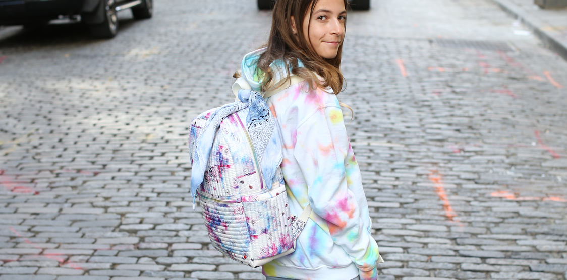 State X Theme back collaboration tie dye kids bags