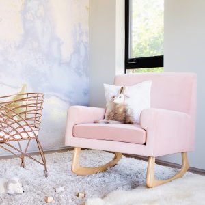 Nursery Works Sleepytime Rocker in Blush Pink Velvet