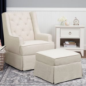 Million Dollar Baby Classic Sadie Swivel Glider and Ottoman - White Linen