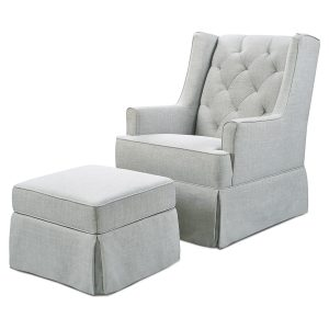 Million Dollar Baby Classic Sadie Swivel Glider and Ottoman - Light Grey Tweed