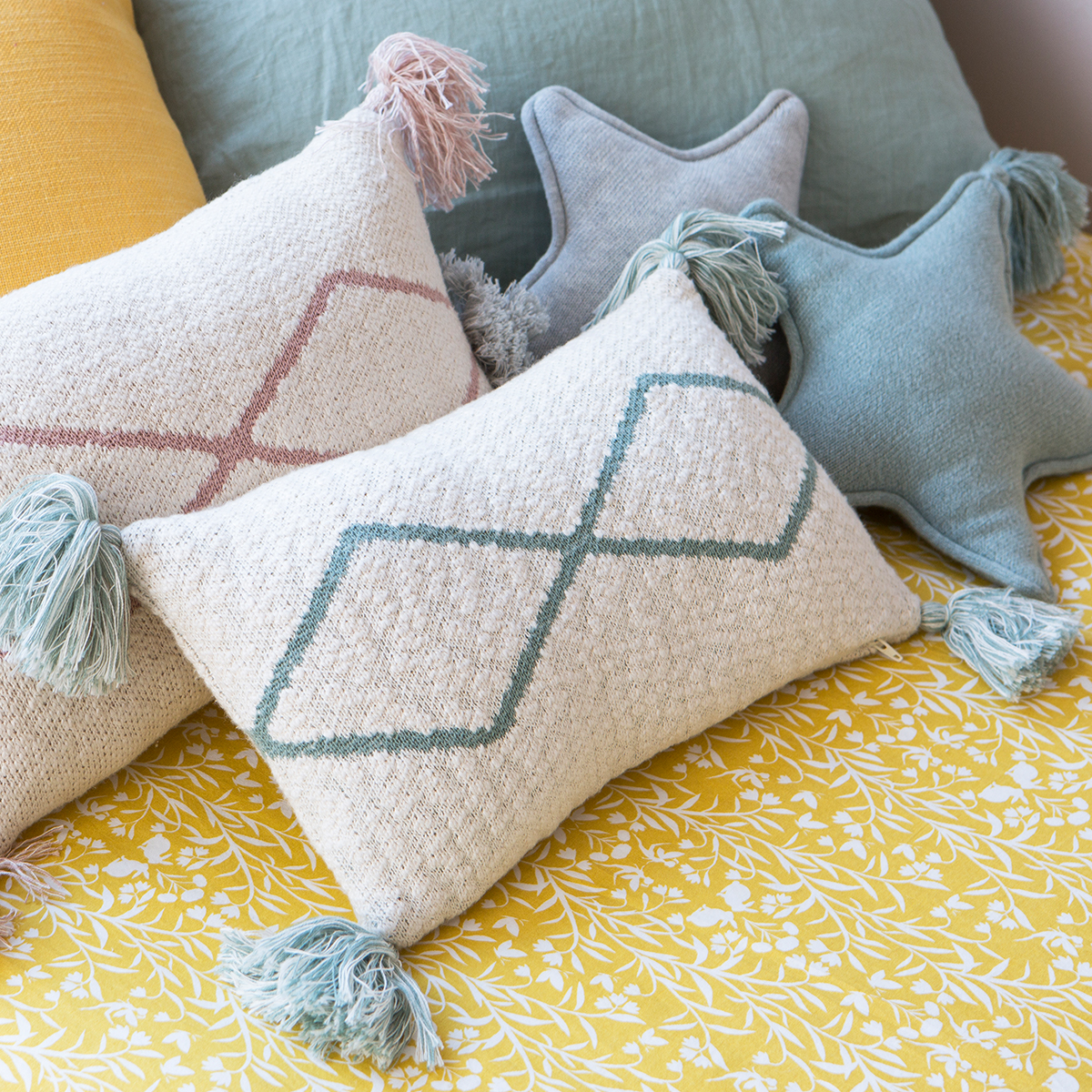 Lorena Canals Knitted Cushion Little Oasis Nat – Indus Blue
