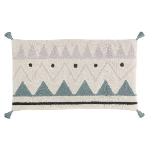 Lorena Canals Sleepover Pouffe Azteca Natural - Vintage Blue