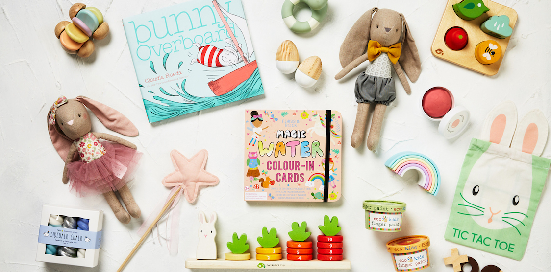A collection of non-toxic Easter themed toys available from The Tot