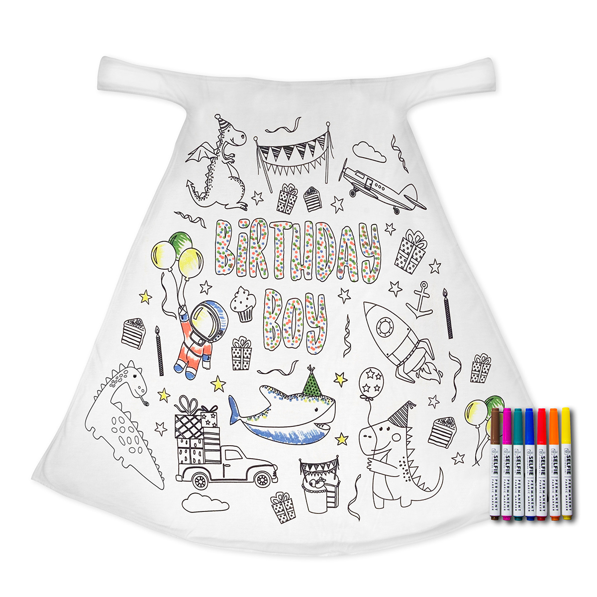 Selfie Clothing Co Exclusive Color-In Cape - Birthday Boy