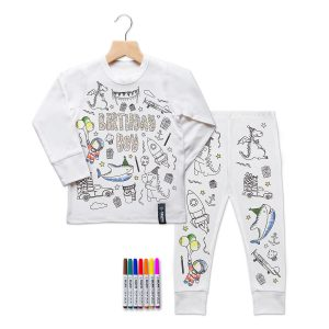 Selfie Clothing Co Toddler/Big Kid Color-In PJs - Birthday Boy