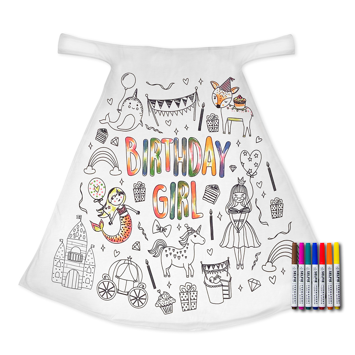 Selfie Clothing Co Exclusive Color-In Cape - Birthday Girl