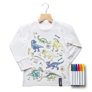 Selfie Clothing Co Toddler/Big Kid Color-In Top- Dinosaur