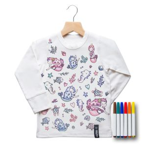 Selfie Clothing Co Toddler/Big Kid Color-In Top- Mermaid