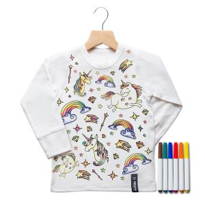 Selfie Clothing Co Toddler/Big Kid Color-In Top- Unicorn