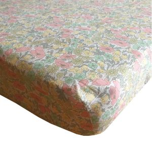 Coco & Wolf Liberty Fitted Sheet Poppy & Daisy Lemon