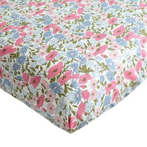 Coco & Wolf Fitted Sheet Poppy & Daisy Rose