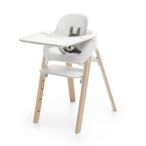 Stokke Steps High Chair Complete Set - Natural and White Legs/Grey Cushion