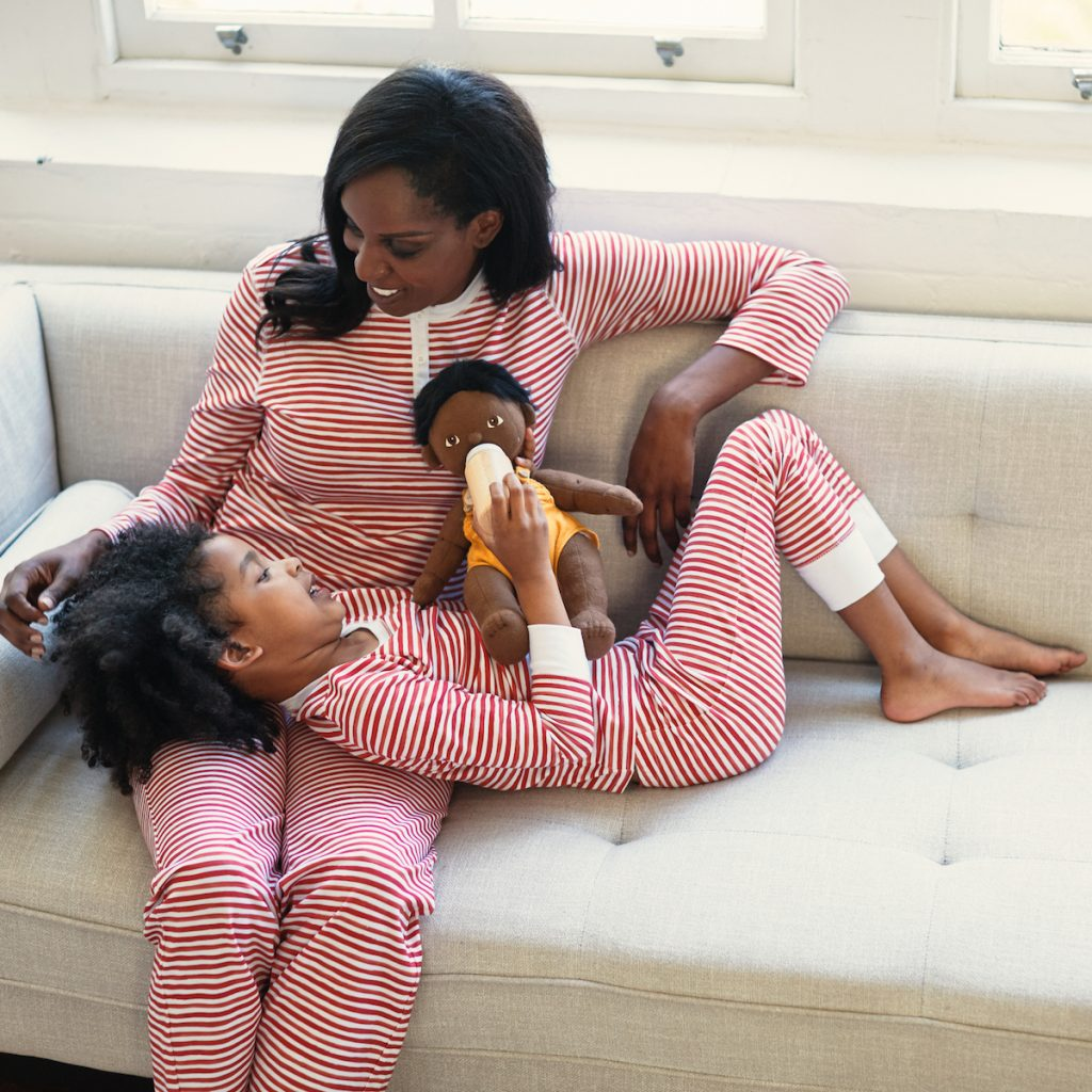A mother and her child wearing HART + LAND Organic cotton PJs
