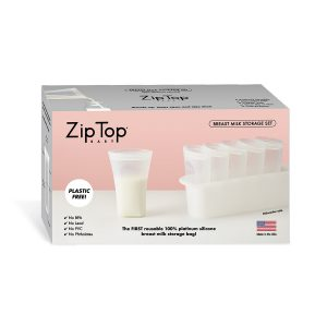 Zip Top Breast Milk Storage Set + Freezer Tray Box
