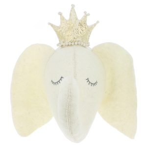 Fiona Walker England Sleepy Elephant with Crown Wall Mount