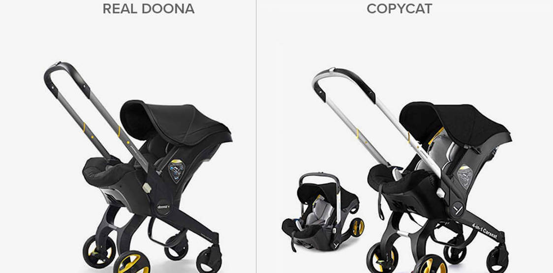 a comparison of the real doona car seat to a fake version