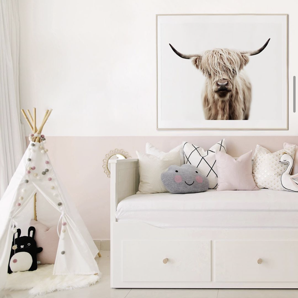 child's bedroom with l'amour fou print shop cow print on the wall
